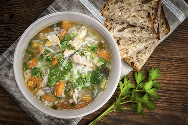 Onion, Kale, Chicken, and Chickpea Soup